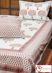 Rustic Mango Double Bed Bedsheet with 2 Reversible Pillow Covers - 90x108 inch-Rajwada Bedsheets-CottonLanes