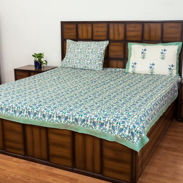 Sea Bottom Double Bed Bedsheet with 2 Reversible Pillow Covers - 90x108 inch-Rajwada Bedsheets-CottonLanes
