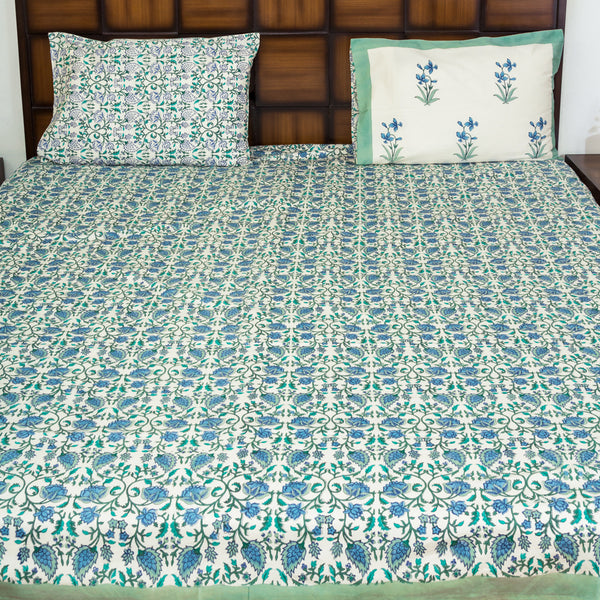 Sea Bottom Double Bed Bedsheet with 2 Reversible Pillow Covers - 90x108 inch - CottonLanes