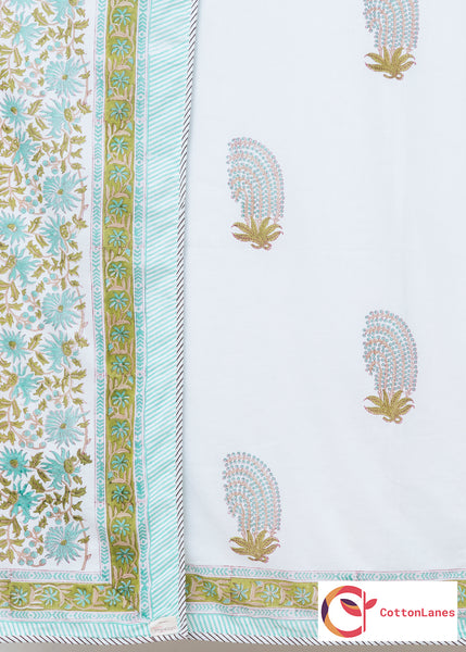 Sea Weed Pure Cotton, Reversible AC Comforter for Single Bed (60x90 inch)-Rajwada Comforters-CottonLanes