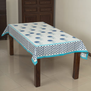Daisy Blue 6 Seater Hand Block Printed, Canvas Fabric Dining Table Cover - 60x90 inch-Table Covers-CottonLanes