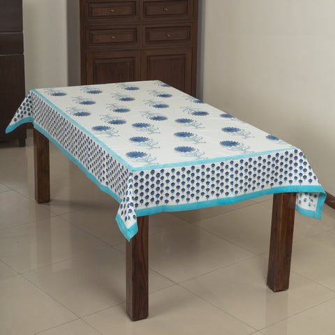Daisy Blue 6 Seater Canvas Fabric Table Cover-Table Covers-CottonLanes