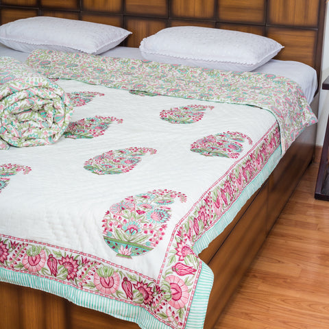 Spring Bloom Single Bed Reversible Quilt - 60x90 inch-Quilts-CottonLanes
