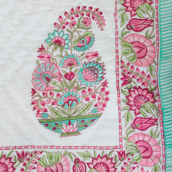 Spring Bloom Single Bed Reversible Quilt-Quilts-CottonLanes