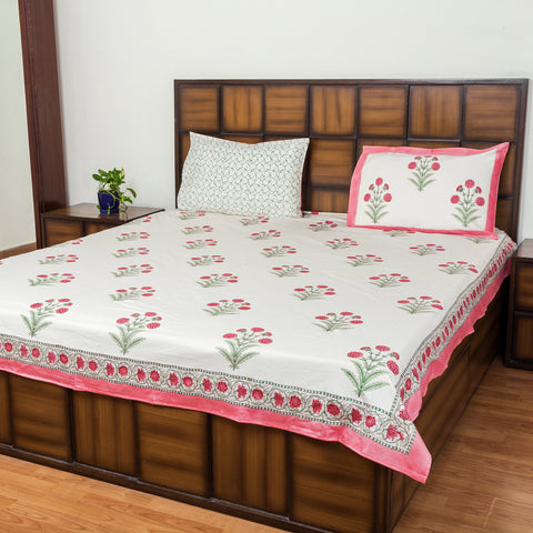 Summer Love Double Bed Bedsheet with Two Reversible Pillow Cases-Rajwada Bedsheets-CottonLanes