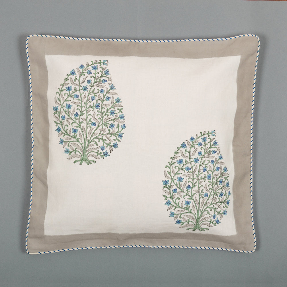 Teal Dreams Canvas Cushion Covers Set of 5-Cushion Covers-CottonLanes