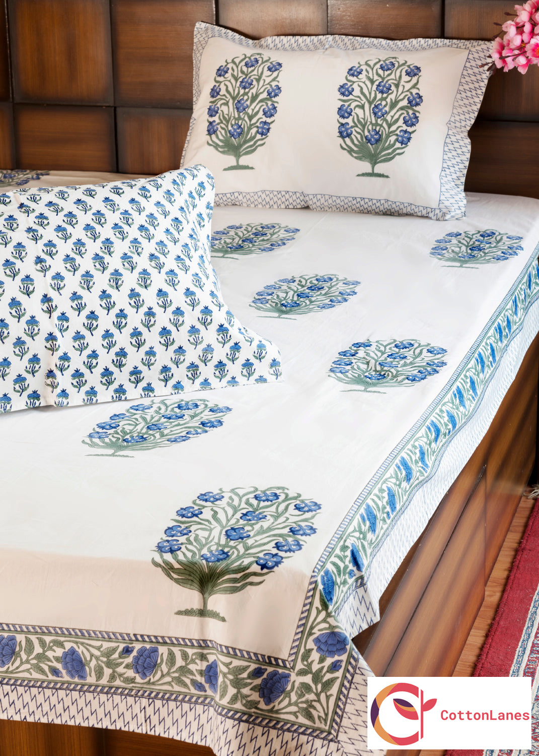 Blooming Blue Double Bed Bedsheet with Two Reversible Pillow Cases-Rajwada Bedsheets-CottonLanes