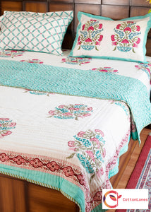 The Pink Tiara Double Bed Reversible Quilt & Double Bed Bedsheet Set-Set-CottonLanes