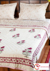 Tulip Love Single Bed Reversible Quilt-Quilts-CottonLanes