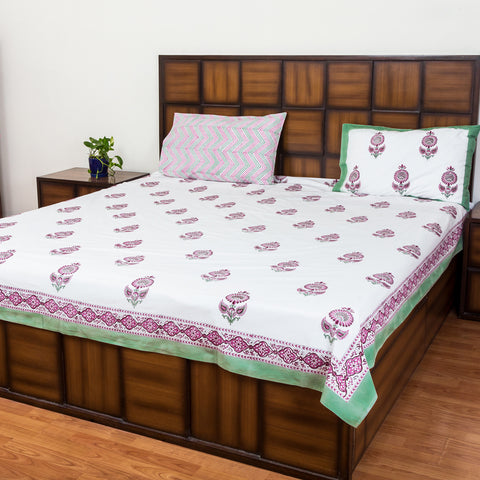 Winter Flower Double Bed Bedsheet with 2 Reversible Pillow Covers - 90x108 inch-Rajwada Bedsheets-CottonLanes