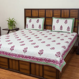 Winter Flower Double Bed Quilted BedCover-Bedcovers-CottonLanes