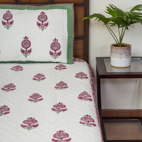 Winter Flower Pure Cotton Quilted BedCover for Double Bed (90x108 inch) 2 Pillow Covers, Multipurpose-Bedcovers-CottonLanes