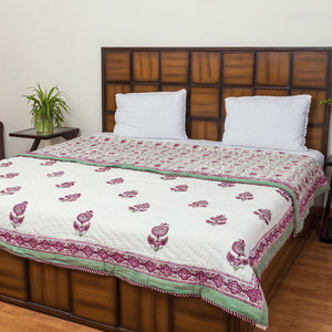 Winter Flower Double Bed Reversible Quilt