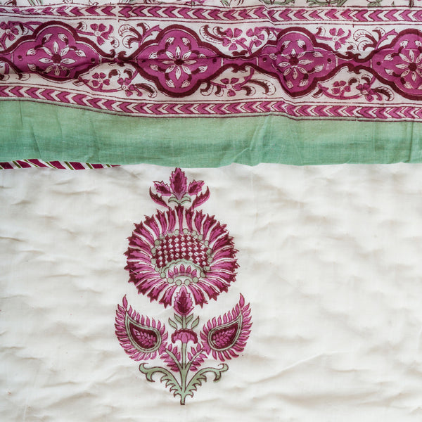 Winter Flower Double Bed Reversible Quilt-Quilts-CottonLanes