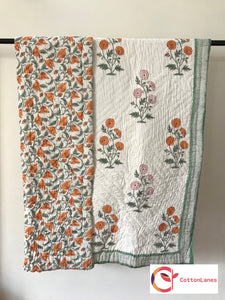 Winter Marigold Single Bed Reversible Quilt-CottonLanes