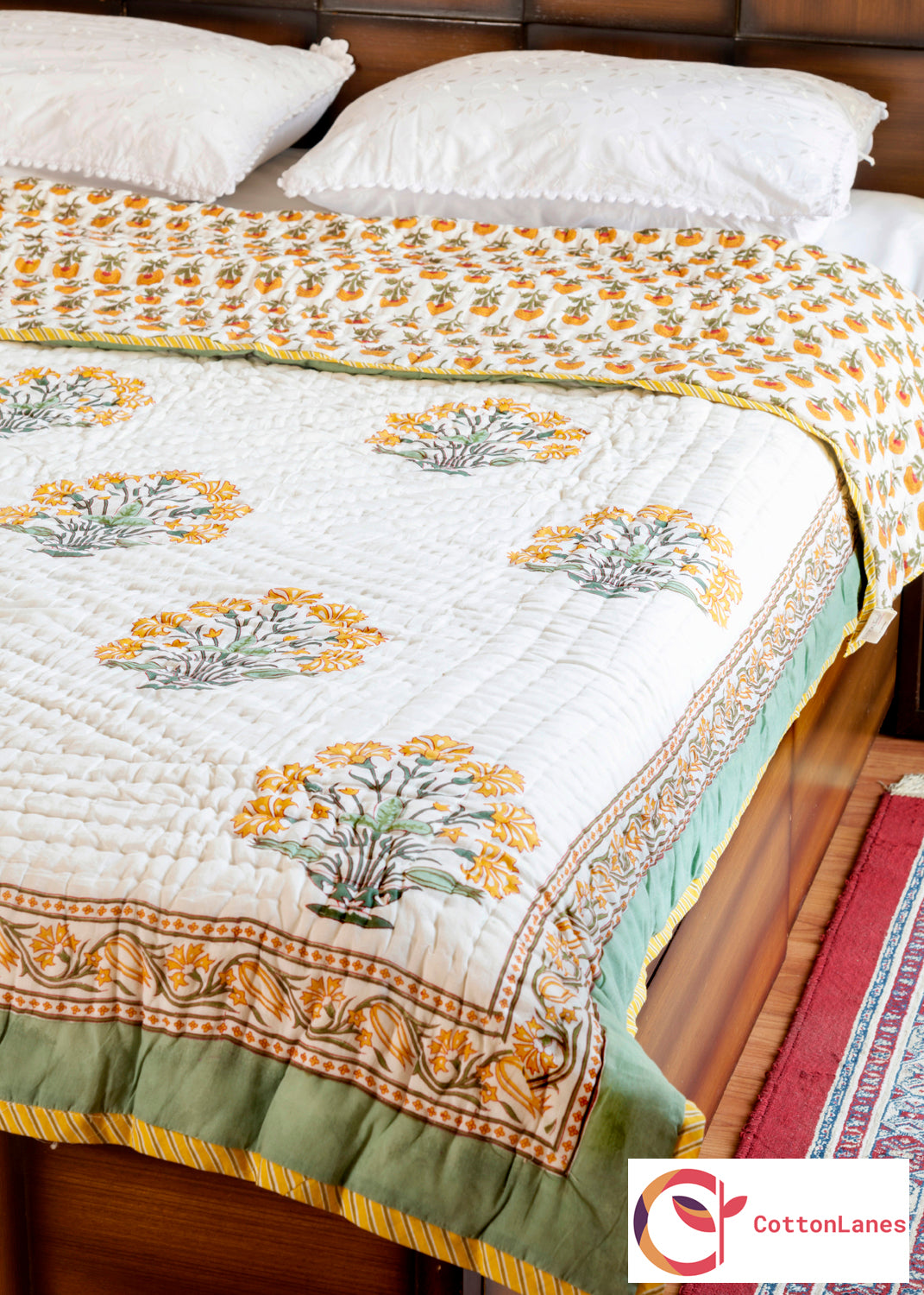 Yellow Blooming Bouquet Double Bed Reversible Quilt - 90x108 inch-Quilts-CottonLanes