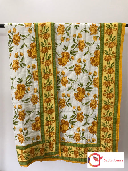 Yellow Floral Mughal Quilt-Quilts-CottonLanes