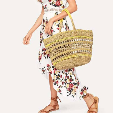 Shoulder beach bag hand-woven big Cut-Out Tote Bag