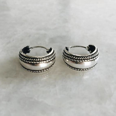 14mm boho silver hoop earrings - Earrings