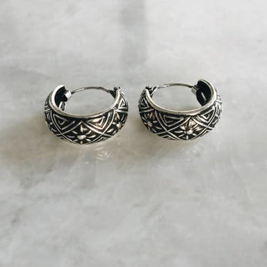14mm tribal sun hoop earrings - Earrings