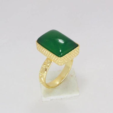 18k Gold Plated Green Onyx Gemstone Birthday Gift Ring - Rings