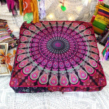 Room Decor Ottoman Pouf Cover Large Mandala Square Floor Cushion Cover