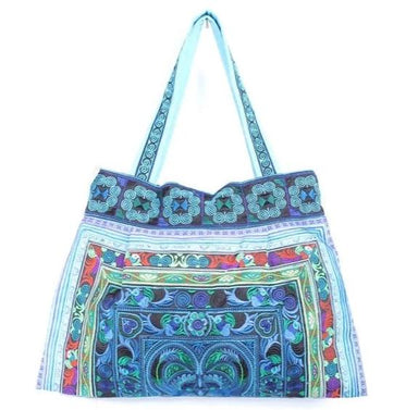 Blue Bird Hmong TOTE Bird Inspired Traditional Fabric