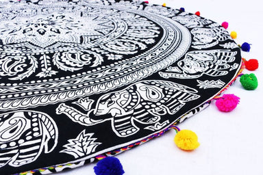 32 Inches Black & White Mandala Pouf Cover Throw Cushion Cover Yoga Meditation Cover