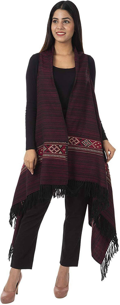 Women's Wool Cape (Maroon)