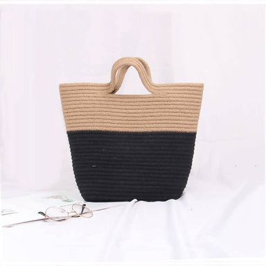 Handmade Rattan Woven Knitted Rivets Large Capacity Totes