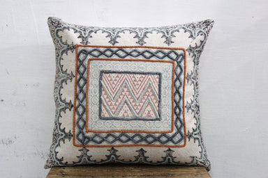 Hand Block Printed Pillow 20 X 20 Rustic Rug Cotton Pillow Cover