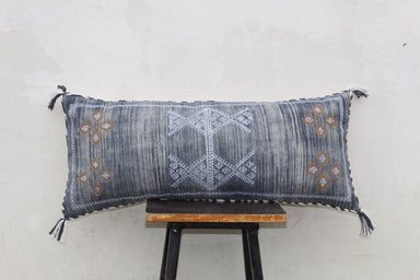 Blue Rustic Rug Moroccan Cotton Pillow Cover 12 X 28