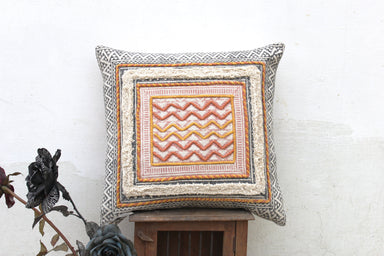 Hand Block Printed Cushion Rustic Rug Pillow 20 X 20 Cotton Pillow Cover