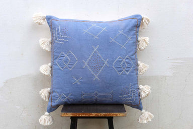 Blue Color Handmade Cotton African Looks Pillow Cover 20X20