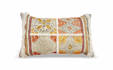 Multi Color Handwoven Indian Dhurrie 12X20 Hand Block Printed Pillow Cover