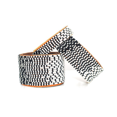 Ombre White and Black Beaded Leather Cuff