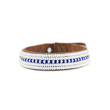 Dashes Dark Blue Beaded Leather Cuff