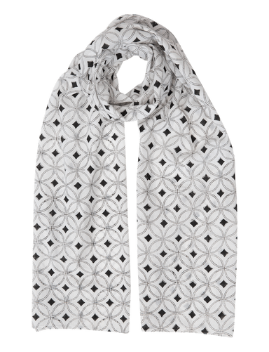 White & Black Diamond Scarf - Passion Lilie - Fair Trade - Ethically Made Cotton