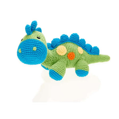 Dinosaur Rattle - Steggi Green - Handmade with Natural Materials