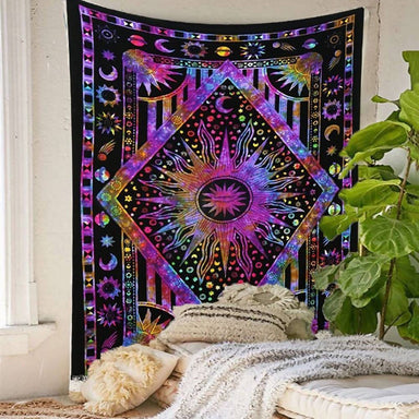 Sun Wall Tapestry Hanging Hippie Moon Indian Bedspread Psychedelic Throw Decor