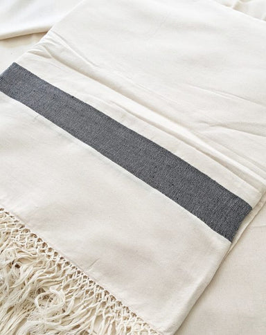 Moroccan Fringe Throw Blanket, Ecru with Black Bands, Hand Loomed by Skilled Artisans