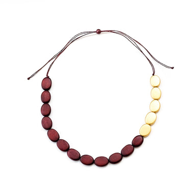 Burgundy and Gold Necklace - Wooden Necklaces | LIKHÂ