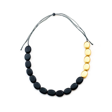 Gold and Charcoal Wooden Bead Necklace | LIKHÂ