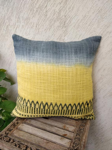 Yellow Handwoven Cotton Block Printed Cushion Cover