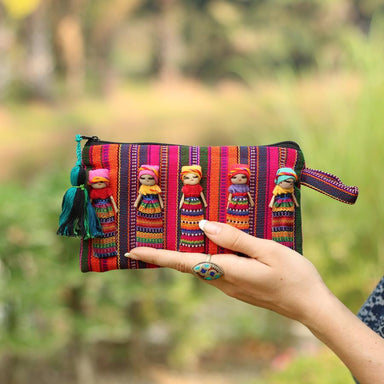 Handmade Worry Doll Pouch Striped Fabric