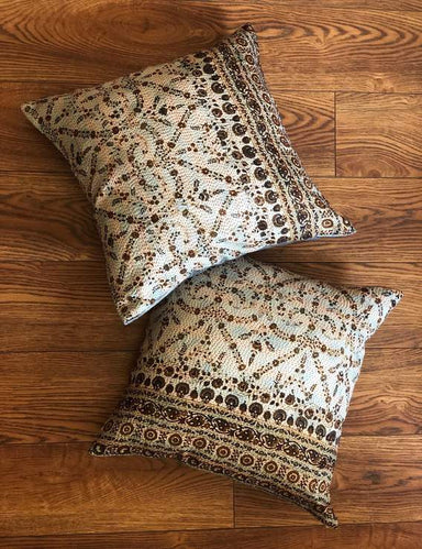Earthy Brown Floral Kantha Silk Cushion Covers Set of 2