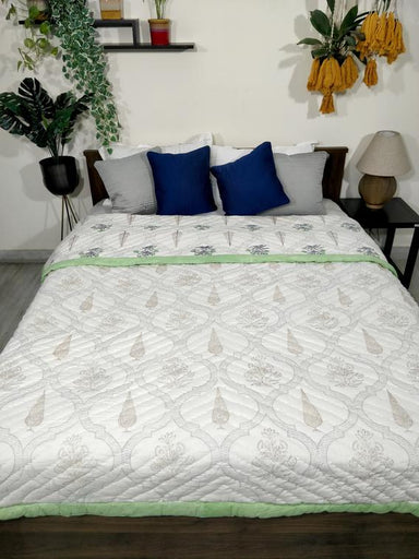 Mint Green And White Reversible Cotton-Filled Jaipuri Rajai Quilt/Blanket