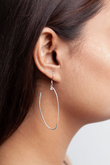 Hammered Silver Loop Earrings