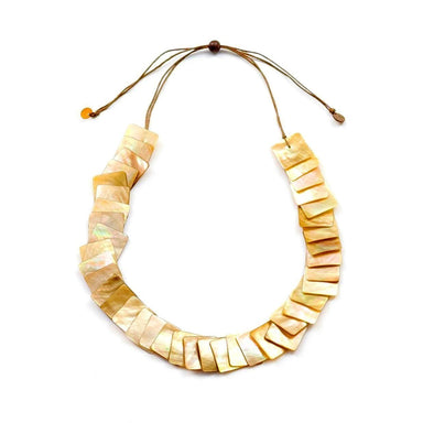 Mother of Pearl Long Necklace - Nude Brown | LIKHÂ