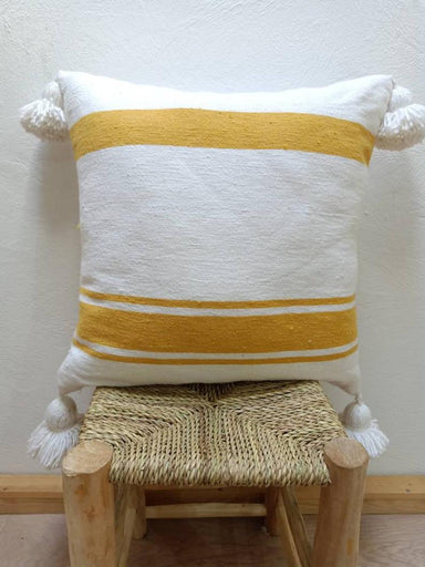 Moroccan Accent Pillow Covers made from pure Cotton -White with Perfect Mustard Yellow Stripes